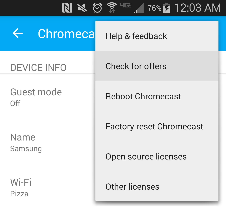 Chromecast check for offers