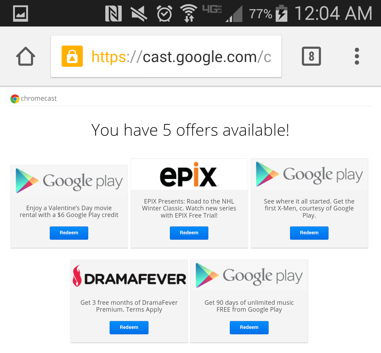 chromecast offers